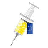 Syringe with solution of coins with euro sign Stock Images