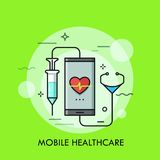 Syringe and stethoscope connected to smartphone with heart rate indication on screen. Concept of mobile healthcare, remote medical aid and consultation Royalty Free Stock Photos