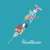 Syringe symbol, acupuncture medicine items poster Royalty Free Stock Images