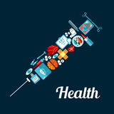 Syringe symbol made up of medical flat icons Royalty Free Stock Photo