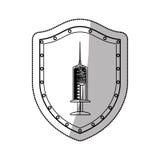 Syringe symbol on shield Stock Image