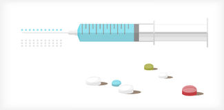 Syringe and tablets A Stock Image