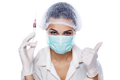 Syringe and thumb up Stock Photo