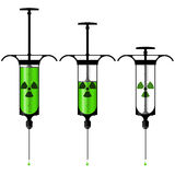 Syringe with toxic liquid and radioactive symbol Stock Image