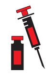 Syringe and vial bottle icon vector isolated in white background. Royalty Free Stock Image