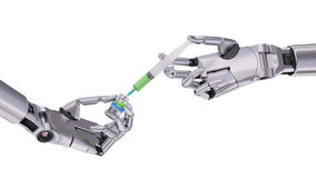 Syringe and Vial with Medicine in Robot Hands 3d Illustration Royalty Free Stock Photos