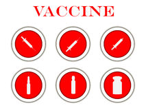 Syringe and vials. Syringe and ampules. Vaccine. Set round icons with shadow. Vector Royalty Free Stock Image