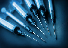 Syringes on black background Royalty Free Stock Photo