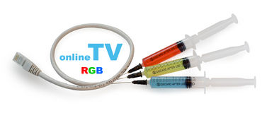 Syringes with colored liquid Royalty Free Stock Photos