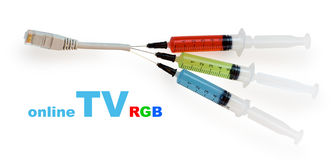 Syringes with colored liquid. Stuck to the wire Stock Photos