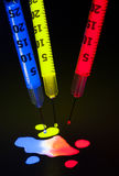 Syringes with Glow Stick liquid Stock Photography