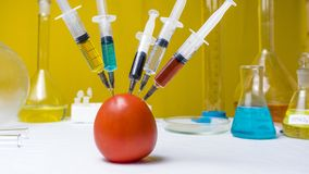 Syringes with green, red, yellow, black and white liquid make an injection into a red tomato on a white background. Concepts of stock photography