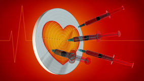 Syringes in heart Royalty Free Stock Photo