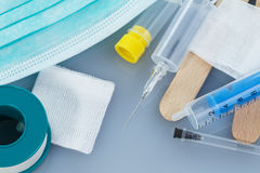 Syringes for medical, health care or pharmacy themes Stock Photo