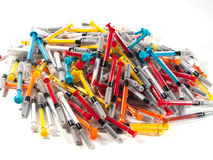 Syringes Of Different Colors Royalty Free Stock Photography