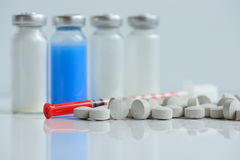Syringes pills and vials Royalty Free Stock Photos