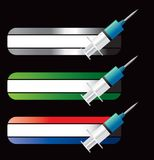 Syringes on specialized banners. Three specialized banners with a syringe Royalty Free Stock Photos