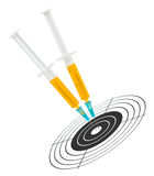 Syringes and target Royalty Free Stock Photos