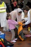 SYRISCHE FLÜCHTLINGS-FAMILIE KOMMT IN KOPENHAGEN AN Stockbild