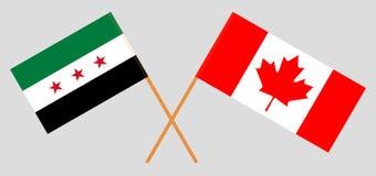 Syrische Nationale Coalitie en Canada Vlaggen van Tussentijdse Syrische Overheid en Canadees Officiële kleuren Correct aandeel Ve vector illustratie