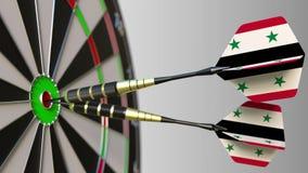Syrische nationale voltooiing Vlaggen van Syrië op pijltjes die bullseye raken Het conceptuele 3d teruggeven Royalty-vrije Stock Afbeeldingen