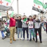 Syrische Sammlung im Trafalgar-Platz, zum von Medizinern unter Beschuss zu stützen Stockfotografie