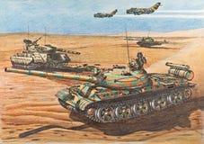 Syrische t-62 tanks aangevallen posities van Israëliërs Stock Foto's