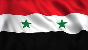 Syrische vlag die in de wind golven royalty-vrije illustratie