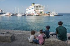 Syrische vluchtelingen, Kos-eiland royalty-vrije stock afbeelding