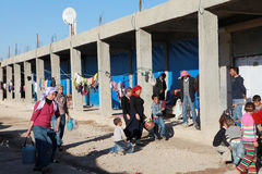 SYRISCHE VLUCHTELINGEN IN SURUC, TURKIJE Stock Afbeelding