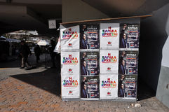 Syriza campaign kiosk posters. ATHENS, GREECE - JANUARY 28, 2015: Posters with portrait of Alexis Tsipras and Hope is coming slogan on campaign kiosk of Royalty Free Stock Photography