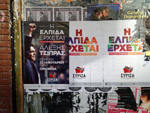 Syriza posters, Athens Stock Photos