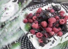 Syrlig choklad med hallon arkivfoton