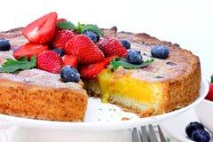 Syrlig efterrätt för sommarbärfrukt med citronkrämkräm Royaltyfri Bild