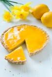 Syrlig paj för smaklig hemlagad söt frukt med citronen Arkivbilder