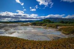 Syrlig sjö i caldera för vulkan för Uzon ` s Kamchatka Ryssland royaltyfri fotografi