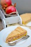 Syrliga Apple och kanelbrun Streusel Royaltyfri Bild
