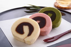 Syrliga Bean Paste Swiss Roll Ichiroku, japanska sötsaker Royaltyfri Foto