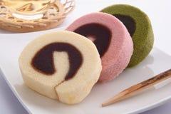 Syrliga Bean Paste Swiss Roll Ichiroku, japanska sötsaker Royaltyfria Foton