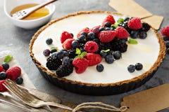 Syrliga sommarbär och grekisk yoghurt royaltyfri bild