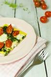 Syrliga spenat och tomat Arkivfoton