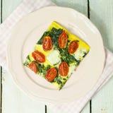 Syrliga spenat och tomat Fotografering för Bildbyråer
