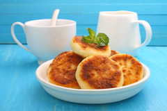 Syrniki (Cottage cheese pancakes, Fritters of cottage cheese) Stock Photo