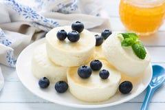 Syrniki, crepes del requesón o pasteles de queso con las bayas y la miel frescas Foto de archivo