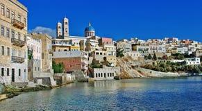 Syros,希腊,全景 免版税库存照片