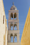 Syros. Belltower of a church in Capuchin monastery in Ano Syros willage on Syros island, Greece Royalty Free Stock Photo