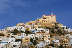 Syros. Capuchin monastery in Ano Syros village on Syros island in Greece Royalty Free Stock Image