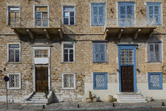 Syros. Facades of old buildings in Ermoupoli town on Syros island in Greece Royalty Free Stock Photo