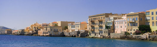 Syros island. Houses along the sea on the island of Syros in Greece Royalty Free Stock Photos