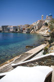 Syros island. Houses along the sea on the island of Syros in Greece Royalty Free Stock Photo